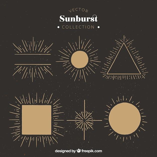 Sunburst in verschiedenen formen Kostenlosen Vektoren