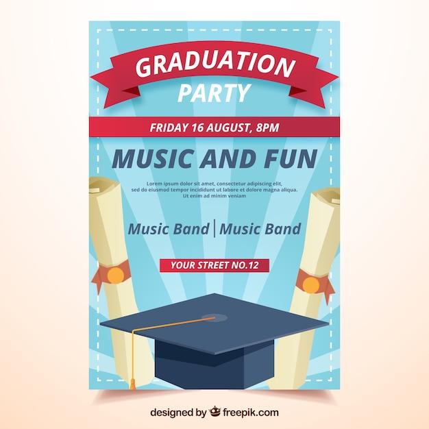 Sunburst party broschüre mit diplomen und abschlusskappe Kostenlosen Vektoren