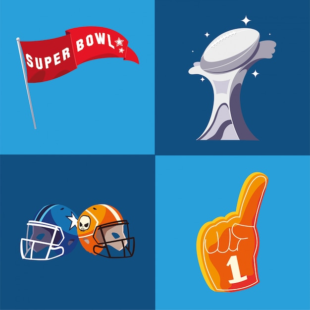 Super bowl flag trophy helme und handschuh illustration Premium Vektoren