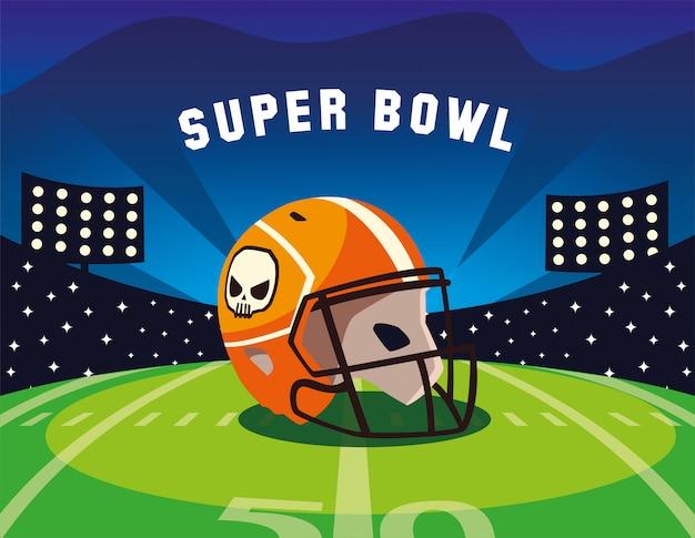 Super bowl label mit fußballstadion und helm Premium Vektoren