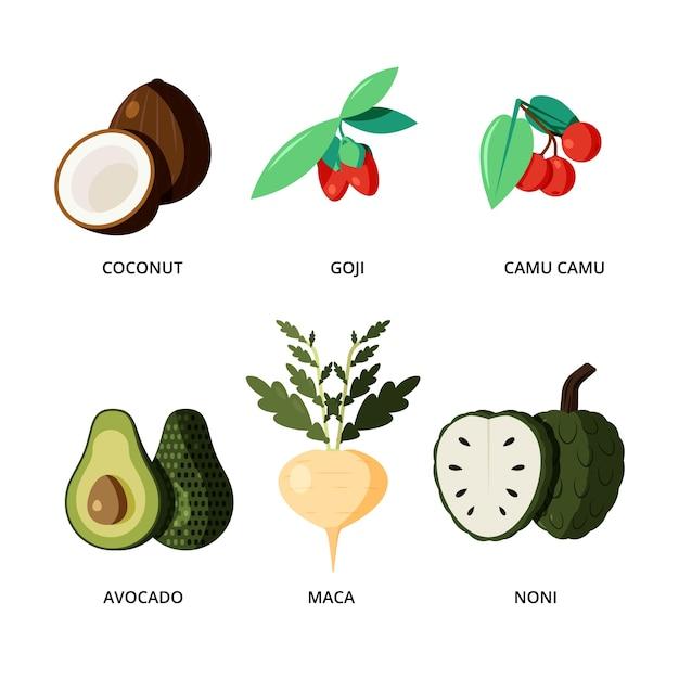 Super food gemüse und obst isoliert auf weißem hintergrund Kostenlosen Vektoren