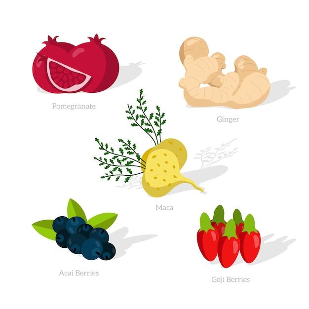 Super gesundes essen und schatten Kostenlosen Vektoren
