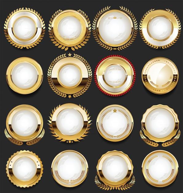 Super glänzende sammlung von goldenen retro-vintage-abzeichen Premium Vektoren