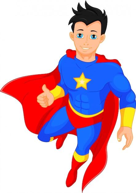 Super hero boy daumen hoch Premium Vektoren