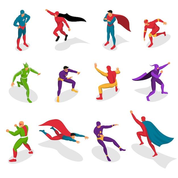 Super heroes isometric set Kostenlosen Vektoren