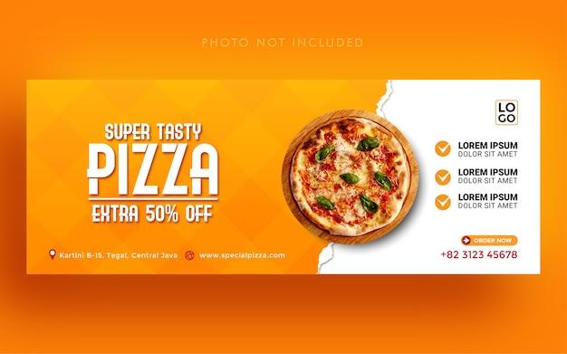 Super leckere pizza werbung social media facebook cover banner vorlage Premium Vektoren