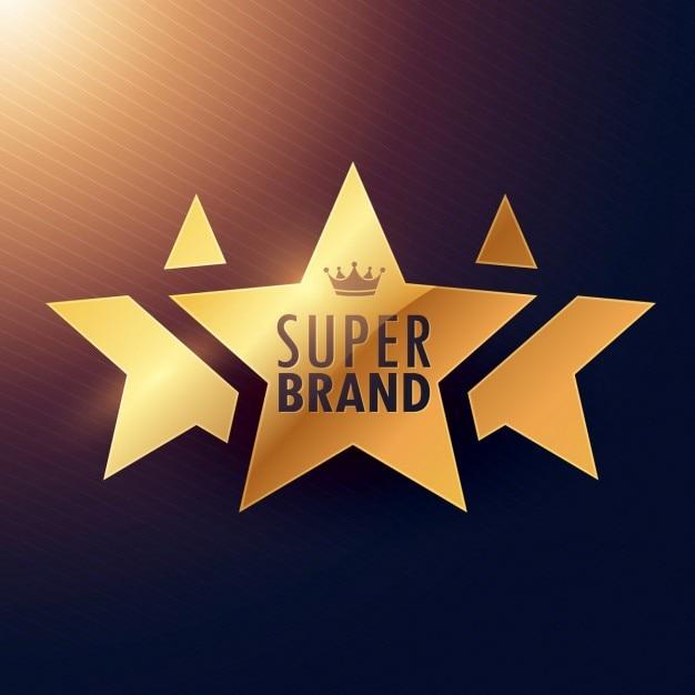 Super-marke drei-sterne-goldenen etikett für ihre werbung Kostenlosen Vektoren