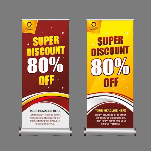 Super rabatt stehend banner vorlage Premium Vektoren