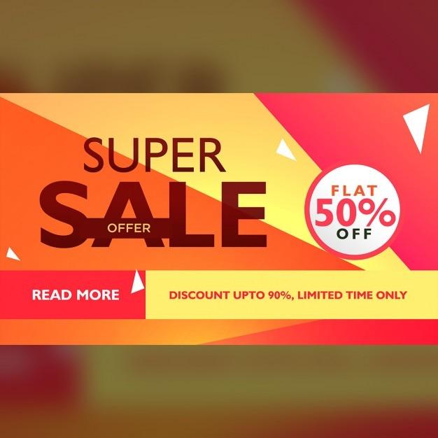 Super Sale Angebot Vorlage Für Werbung Mit Geometrischen Bunten