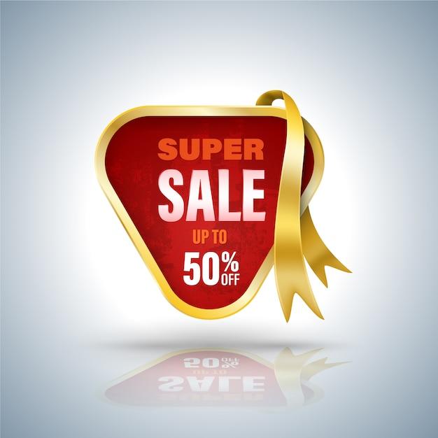 Super sale banner 3d-stil Premium Vektoren