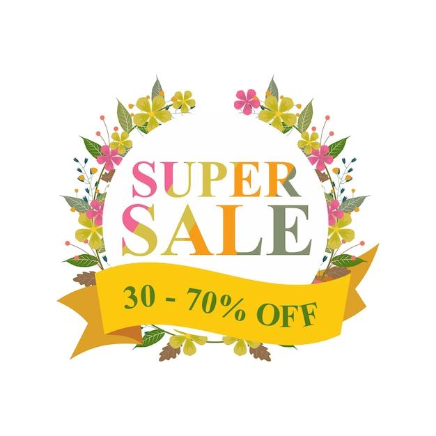 Super sale discount aus blumenkranz banner Premium Vektoren