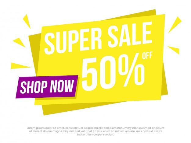 Super sale text banner Premium Vektoren