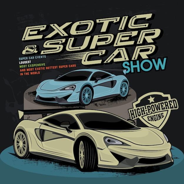 Super schnelles auto, autovektorillustration Premium Vektoren