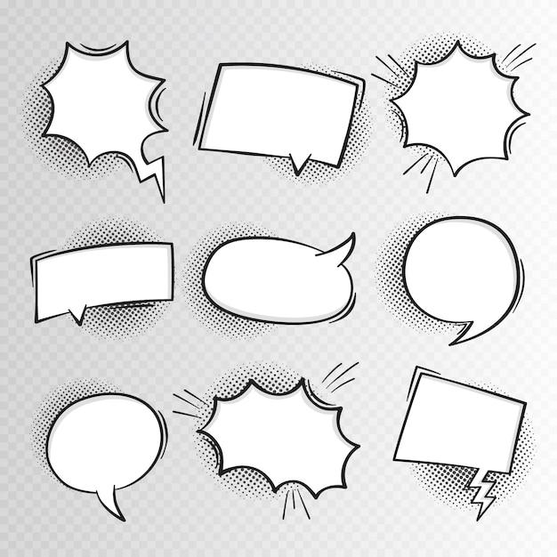 Super set hand gezeichnete leere comic-sprechblasen hintergrund im retro-stil. Premium Vektoren