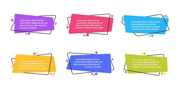 Super set verschiedene form geometrische flache banner. moderne abstrakte formen für zitat und text. moderner flacher stil Premium Vektoren