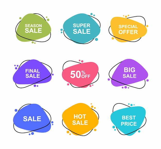 Super set verschiedene form handgezeichnete banner. verkauf tags setzen abzeichen vorlage 0, 2, 0, 35, 5, 50, 0, 5, 5 prozent rabatt. rabattaktion. Premium Vektoren