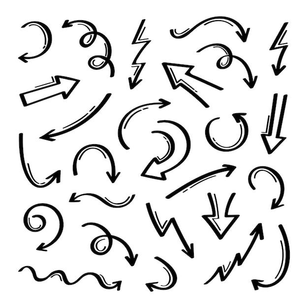 Super set verschiedene form handgezeichnete pfeile. grafik . Premium Vektoren