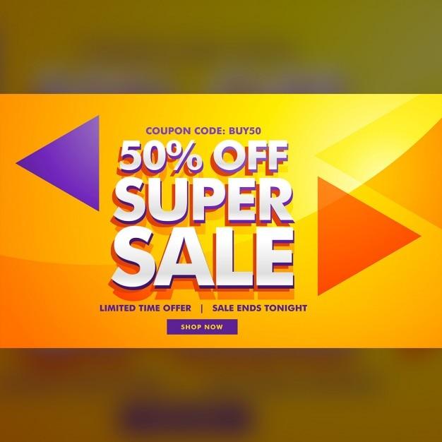 Super verkauf werbung banner-vorlage für marketing Kostenlosen Vektoren