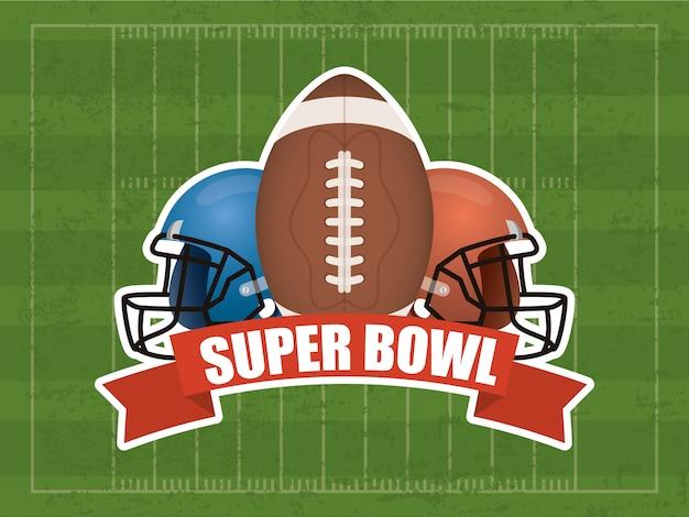 Superbowl sportillustration mit ballon und sturzhelm Premium Vektoren