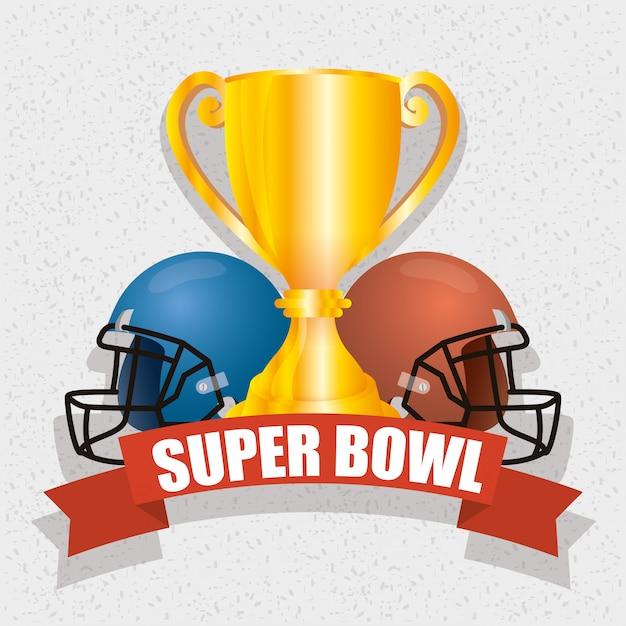 Superbowl-sportillustration mit trophäe und sturzhelmen Premium Vektoren
