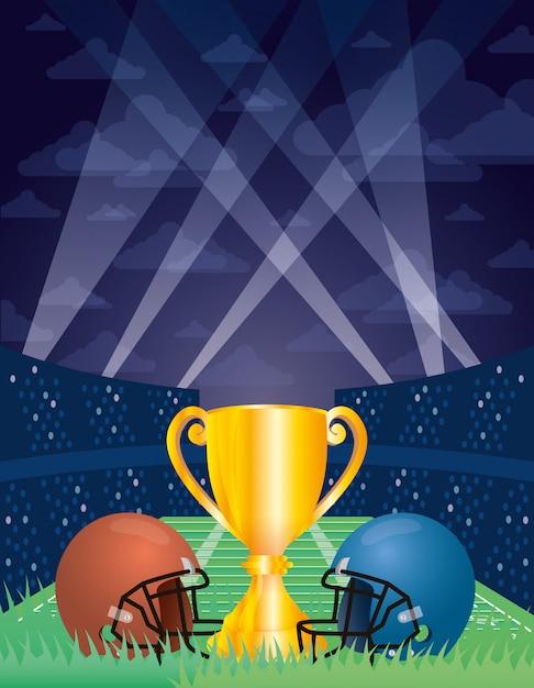 Superbowl sportillustration mit trophäenbecher und helmen Premium Vektoren