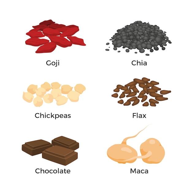 Superfood-elementsammlung Kostenlosen Vektoren
