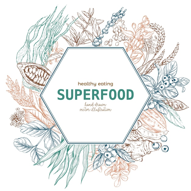 Superfood-hexagonrahmenfahne, farbskizze Premium Vektoren