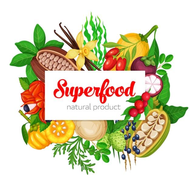 Superfood obst und beeren Premium Vektoren