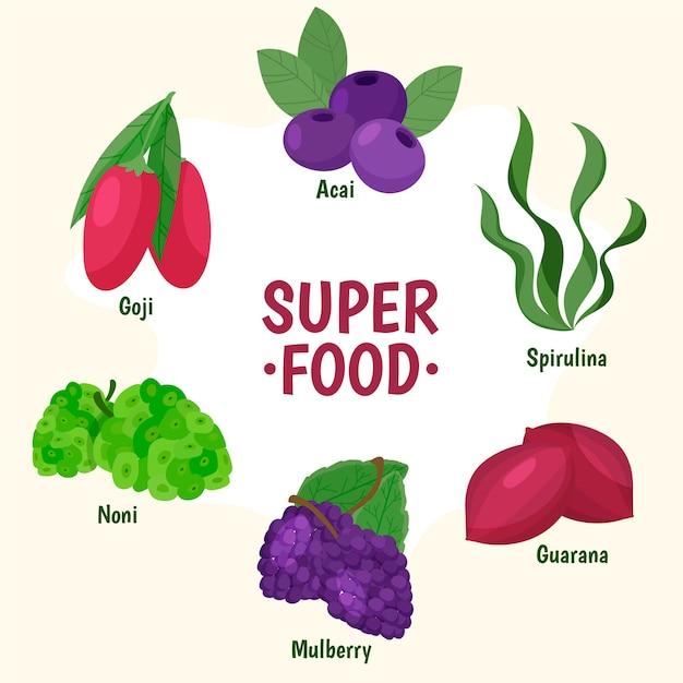 Superfood-sammlung Kostenlosen Vektoren