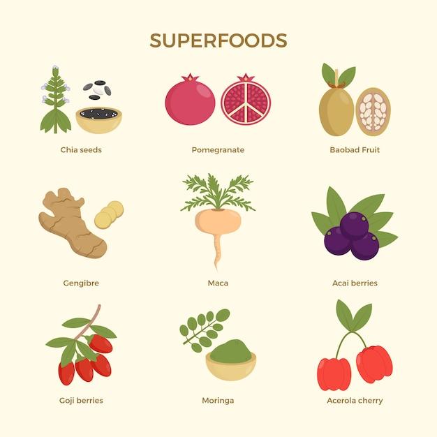 Superfood-sammlungskonzept Kostenlosen Vektoren