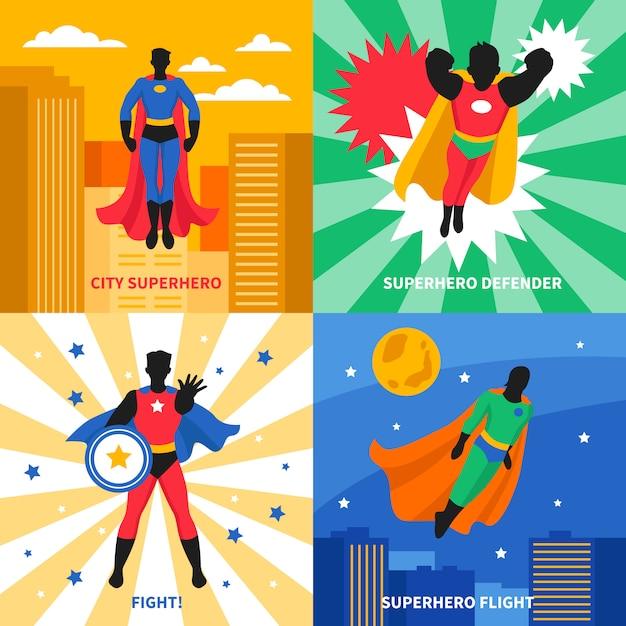 Superheld 2x2 design concept Kostenlosen Vektoren