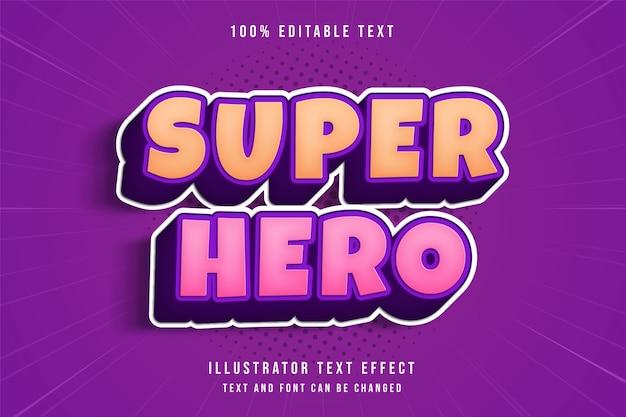 Superheld, 3d bearbeitbarer texteffekt gelbe abstufung rosa lila comic-schatten-textstil Premium Vektoren
