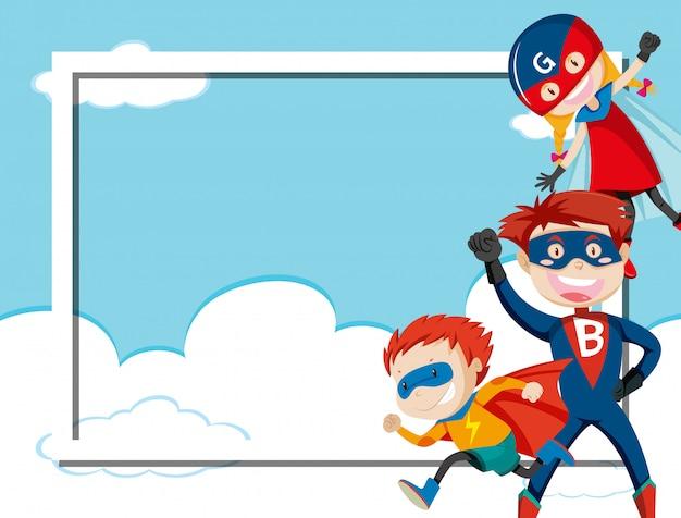 Superheld auf himmelrahmen Premium Vektoren
