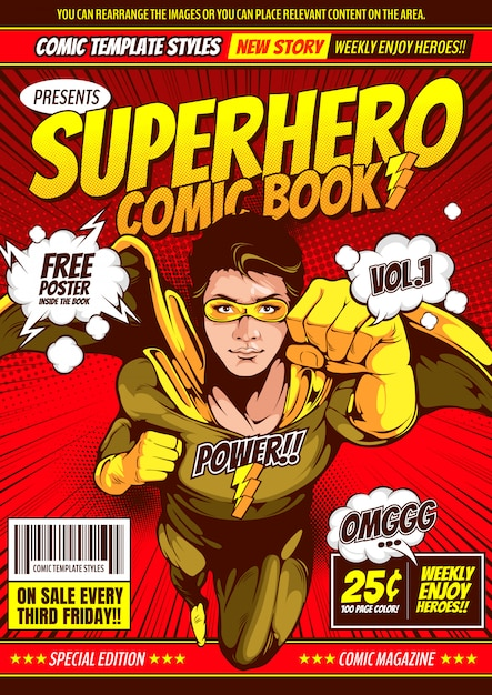 Superheld comic cover vorlage hintergrund. Premium Vektoren