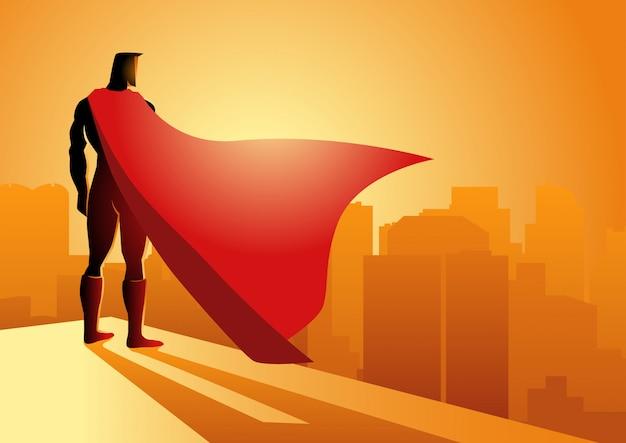 Superheld, der am rand eines gebäudes steht Premium Vektoren