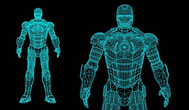 Superheld des roboters 3d Premium Vektoren