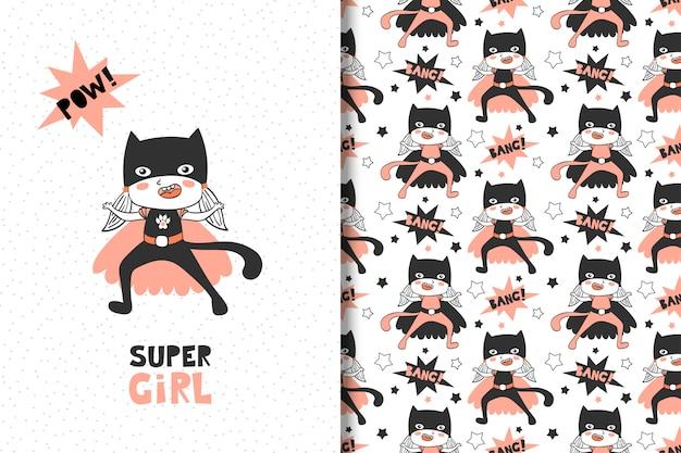 Superheld für mädchen. karte und nahtloses muster Premium Vektoren