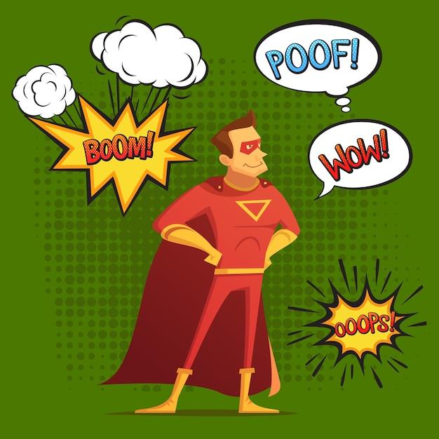 Superheld im roten kostüm, komposition mit sound und emotion sprudelt grüner hintergrund-comic-stil Kostenlosen Vektoren