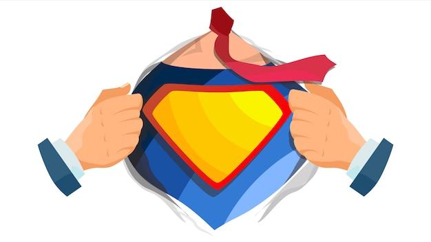 Superheld-logo. gelbes, rotes schild. Premium Vektoren
