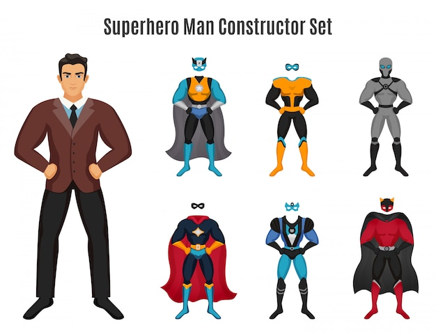 Superheld-mann-konstruktor-set Kostenlosen Vektoren