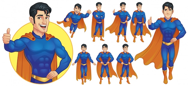 Superheld maskottchen charakter in neun posen Premium Vektoren