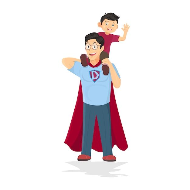 Superheld papa konzept. vater kümmert sich um sohn Premium Vektoren