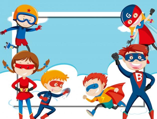 Superheld-rahmenvorlage Kostenlosen Vektoren