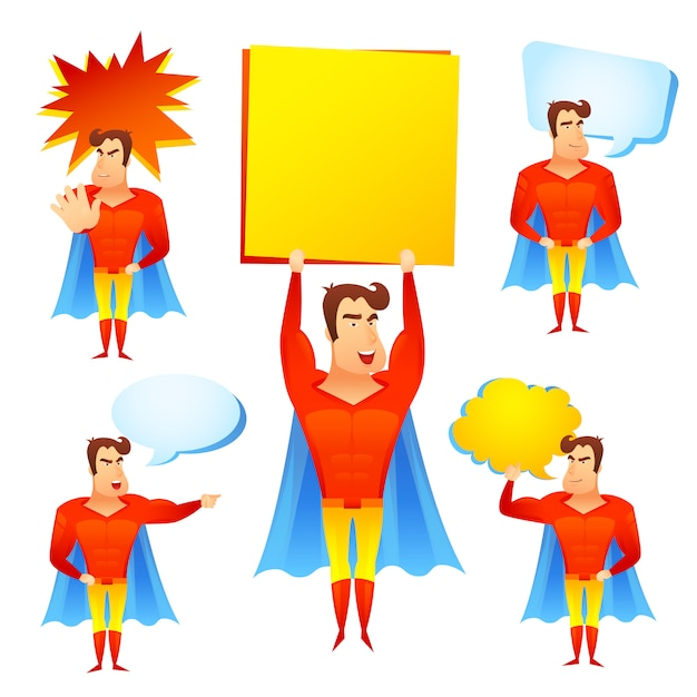 Superheld-zeichentrickfilm-figur mit sprechblasen Kostenlosen Vektoren