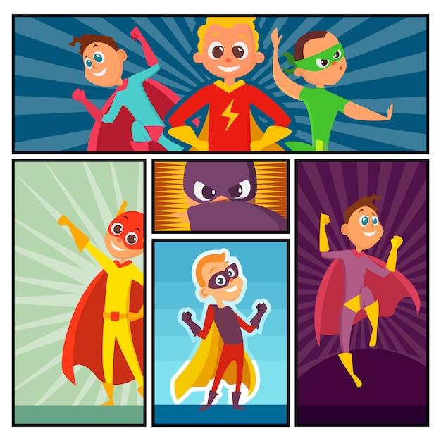 Superhelden banner. kinderheldenfiguren in aktion werfen comic-superpersonen farbiges cartoon-maskottchen auf Premium Vektoren