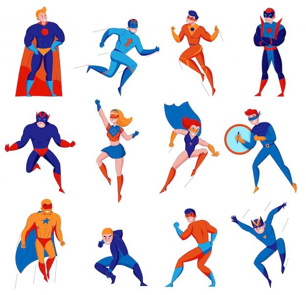 Superhelden cartoon comic strip elektronische spiele charaktere mit superman batwoman spinnenmann wunder frau isoliert Kostenlosen Vektoren