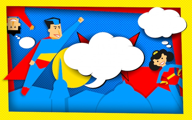 Superhelden in retro-halbton-technik mit leeren blasen Premium Vektoren
