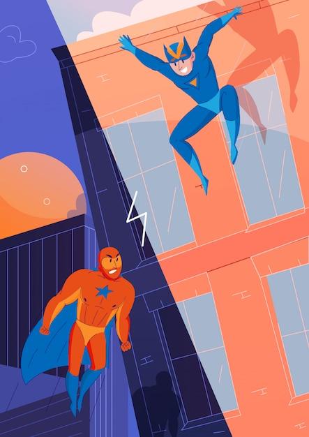 Superhelden kämpfen gegen charaktere der bösewicht-comic-spiele mit fliegendem supermann und springendem geschwindigkeitshelden Kostenlosen Vektoren