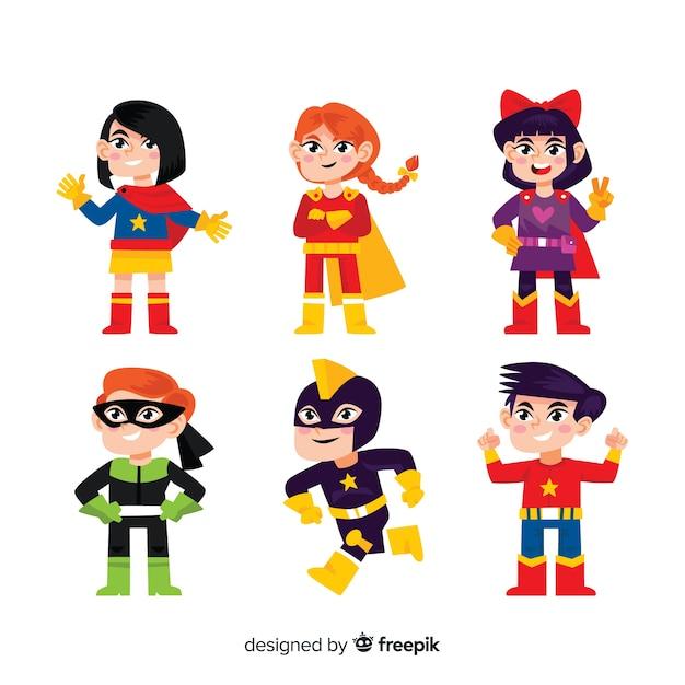 Superhelden kinder kollektion Kostenlosen Vektoren