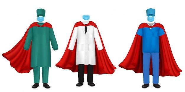 Superhelden-set des corona-virus-pandemie-doktors, flache illustration Premium Vektoren